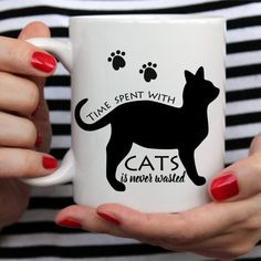 at Coffee Mug, Time Spent With Cats Is Never Wasted - White Mug - Two Sizes
