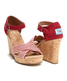 Look what I found on #zulily! Red University Wedge Sandal by TOMS #zulilyfinds