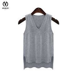 2017 Spring new sweater Hooded sleeveless sweaters Vest Loose V-neck Collar Wool waistcoat short front long back knitted tops Sleeveless Sweaters, Neck Collar, V Neck, Spring New, Vest, Tank Tops, Women, Fashion, Spring