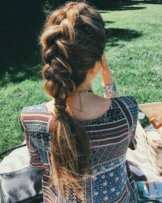 Get Inspired for your Summer Hair: Mohawk braid with wrap-around ponytail hairstyle.