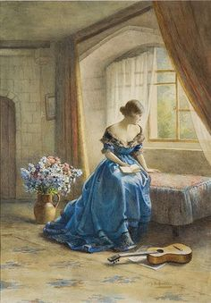 waking up in blue pajamas. dressing in a blue dress. with blue shoes. off to lunch in a blue decor restaurant. Classic Paintings, Old Paintings, Beautiful Paintings, Reading Art, Woman Reading, Chef D Oeuvre, Oeuvre D'art, Images Esthétiques, Victorian Art