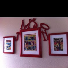 Quick n easy project. Goodwill frames spray painted. Mattes from Michael's. Then framed comic books.