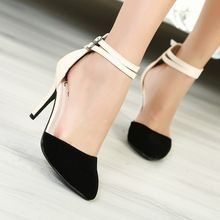 2014 summer shoes womens fashion ankle wrap high heels sandals pointed toe ladies shoes black beige size 34-39(China (Mainland))