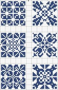Blue tiles 03 | Free chart for cross-stitch, filet crochet | Chart for pattern - Gráfico