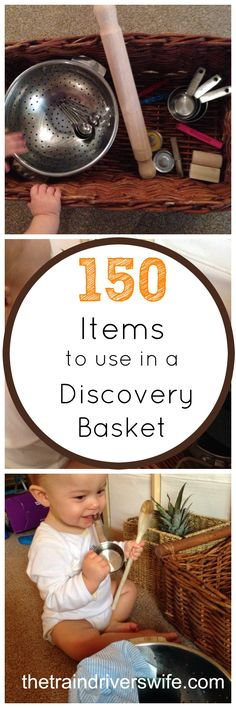 150 items to Include in a Discovery Basket. A Discovery Basket or Treasure Basket is a basket that you fill with ordinary non-hazardous items for your child to explore. The theory behind it is that children are naturally inclined to explore and investiga Sensory Activities, Infant Activities, Sensory Play, Activities For Kids, Sensory Boxes, Toddler Play, Baby Play, Baby Toys, Newborn Toys