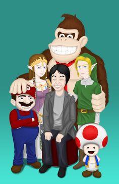 Miyamoto Family Portrait (teal) Art Print by AndyMania #nintendo #mario #toad #donkeykong #link #zelda #miyamoto