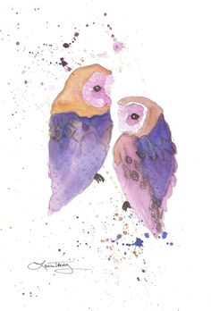Owls Painting in Watercolor