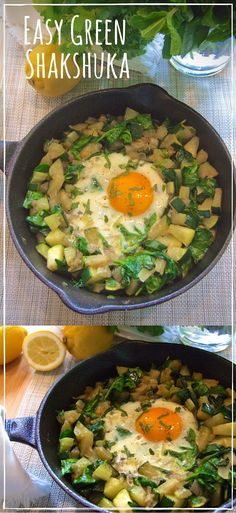 A perfectly cooked egg is surrounded by a soft, cumin-scented vegetable hash. This delicious green shakshuka is quick, easy & oh so good! Paleo & whole30 compatible.