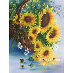 Sunflower Basket tutorial of Demonstration of Painting Flowers Sunflower Pictures, Sunflower Art, Sunflowers And Daisies, Cross Paintings, Art Design, Fabric Painting, Botanical Illustration, Watercolor Flowers, Painting Flowers