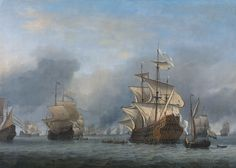 The Taking of the English Flagship Royal Prince - Van De Velde the Younger, Willem (Dutch, 1633 - Fine Art Reproductions, Oil Painting Reproductions - Art for Sale at Bohemain Fine Art Anglo Dutch Wars, Old Sailing Ships, Man Of War, Dutch Golden Age, Ship Paintings, Seascape Art, Royal Prince, Dutch Painters, Nautical Art