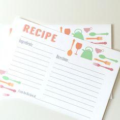 Imprimible de tarjeta para recetas de cocina | Printable Recipe Cards