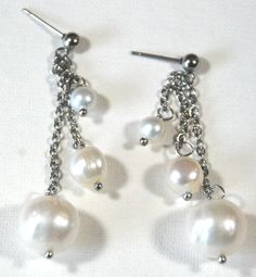 White freshwater pearls on chain with studs | designsbyAtenea - Jewelry on ArtFire
