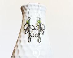 Simple leaf earrings Tibetan Silver jewelry by LuckyKarmaCreations, $14.00