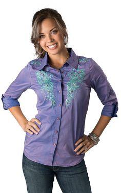 Roar Women's Aquarius II Purple with Aqua Embroidery 3/4-Long Sleeve Western Shirt
