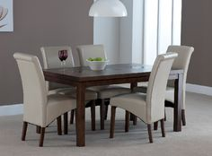 Michigan, walnut 4ft Dining set Contemporary Dining Sets, Michigan, Table Settings, Chairs, Dining Table, Cream, Furniture, Home Decor, Creme Caramel
