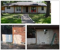 she details how she applied mortar to the outside of her home for a new look using mortar & very thick nitrile gloves . Curb Appeal Porch, Dark Cave, Front Steps, Wire Brushes, Fixer Upper, Decor Crafts, Home Buying, Decorating Tips, Concrete