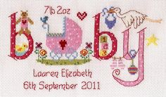 A gorgeous baby girl birth sampler cross stitch kit featuring a charming and unique design, Nia present a beautiful pattern that's sure to be adored as a gift by any expectant or newly made mother. Cross Stitch Baby, Cross Stitch Samplers, Cross Stitch Kits, Cross Stitch Designs, Cross Stitching, Cross Stitch Embroidery, Embroidery Patterns, Cross Stitch Patterns, Stitching Patterns