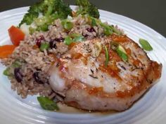 Apricot Citrus Pork Chops with a Cranberry Walnut Rice Pilaf  ... So easy a child could make it.