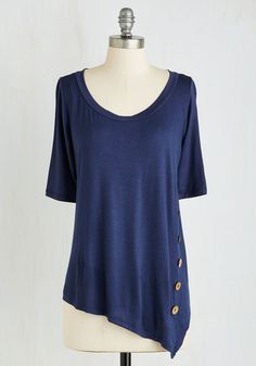 Quaint a Picture Top in Navy - Mid-length, Jersey, Knit, Blue, Solid, Buttons, Short Sleeves, Good, Scoop