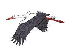 crane bird: Flying stork, illustration