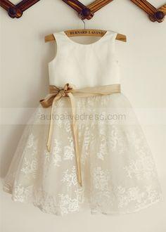 Ivory Satin Lace Knee Length Flower Girl Dress