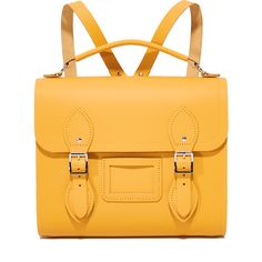 Cambridge Satchel Barrel Backpack (€215) ❤ liked on Polyvore featuring bags, backpacks, backpack, mustard, day pack backpack, mustard backpack, slim backpack, multi color backpack and leather knapsack