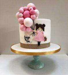 Girl and Balloon Cake – Etoile Bakery ideas para mujeres 1st Birthday Cake For Girls, Creative Birthday Cakes, Baby Birthday Cakes, Beautiful Birthday Cakes, 1st Birthday Cake Designs, Balloon Birthday Cakes, Tortas Deli, Bolo Glamour, Bolo Rapunzel