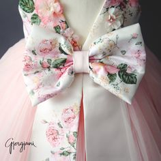 Lili Dress - Itty Bitty Toes  - Big Floral Bow on the Back of this dress with a TRAIN!