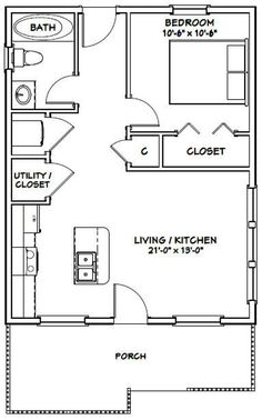 House -- -- 616 sq ft - Excellent Floor Plans - Add private deck on back and loft with stairs. The Plan, How To Plan, Granny Pods, Small House Floor Plans, One Bedroom House Plans, Small Kitchen Floor Plans, 20x30 House Plans, Little House Plans, Barn Homes Floor Plans