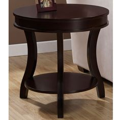 @Overstock - Materials: Hardwood, MDF, wood veneers Finish: Espresso Beautiful wood veneers on top and shelfhttp://www.overstock.com/Home-Garden/Wyatt-End-Table/6198618/product.html?CID=214117 $159.99