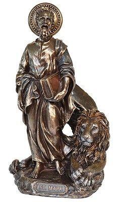 Veronese-Bronze-Figurine-Religious-St-Mark-Evangelist-with-lion-Saint-Statue