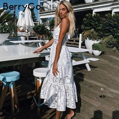 BerryGo v neck sexy lace summer dress women Strap button casual white dress  female Streetwear backless d06b94a4fe32