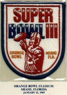 1969 Super Bowl III Official NFL Football Patch Jets Colts