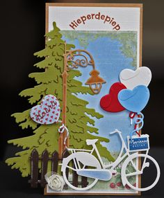 Handmade Diecut Bike with Balloons and Flowers Embellishment x 6PC