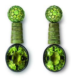 Hemmerle earrings in black finished and green patinated silver, white gold, with green tourmalines, demantoide garnets.