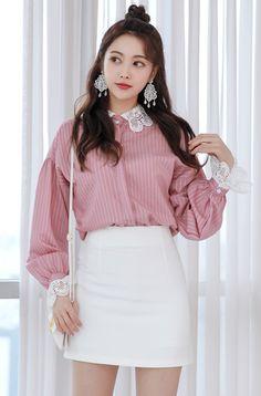 Blouson Sleeve Striped Shirt CHLO.D.MANON    #pink #pinstripe #blouse #feminine #koreanfashion #kstyle #kfashion #springtrend #dailylook