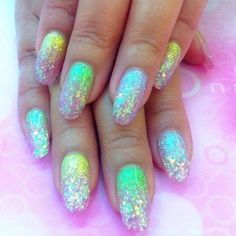 Lush for sparkle! ✨ Mermaid mani #Inspo via Pinterest