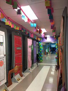 Monsters Inc Hallway Decorations School Hallway Decorations, Hallway Decorating, Dorm Decorations, Halloween Decorations, Disney Homecoming, Homecoming Floats, Homecoming Decorations, Homecoming Themes, Monster Inc Birthday