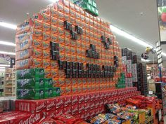 I would be so happy to see this soda pop display in person at my grocery store!  It's SO festive and fun!