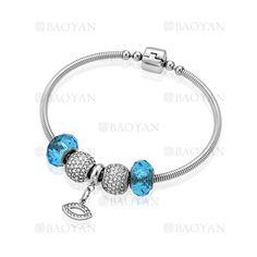 pulsera de abalorios azules con dije en acero para mujer-SSBTG624783