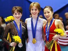 2002 Olympic podium women's figure skating: Silver-Irina Slutskaya(Russia), Gold- Sarah Hughes (USA), Bronze-Michelle Kwan (USA)