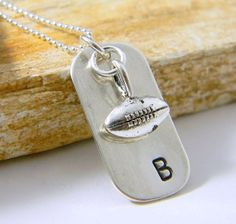 Initial Necklace Footbal Necklace Handstamped by RosesDesigns, $32.00