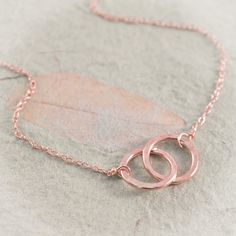 Rose Gold Filled Intertwined Rings Necklace, Pink Gold Handmade Hammered Rings, Two Connected Rings, Simple Jewelry by Shibusa Studio