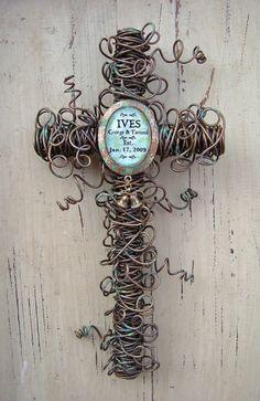 Wedding gift - union - cross - wire art - art