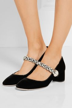 Heel measures approximately 50mm/ 2 inches Black velvet and patent-leather Slip…