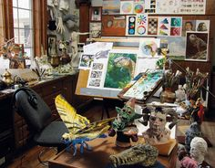 Get a tour of Dinotopia artist's studio. What does this studio have that mine doesn't? besides the cool toys, I think table/shelf space. Art Studio Design, My Art Studio, Studio Room, Dream Studio, Studio Spaces, Art Spaces, Garage Studio, Studio Setup, Artist Workspace