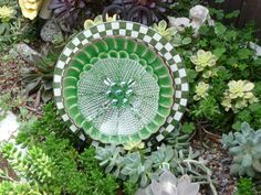 DJ's Drought Resistant Plate Flowers. #66.   Garden Yard Art glass and ceramic plate flower