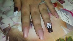 Nude nails & acrylic bow