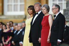 Melania Trump, Donald Trump, Theresa May and her husband Philip at Blenheim Palace