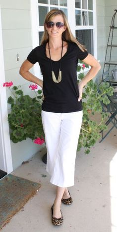 black & white with animal print flats, fun necklace